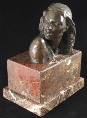 Modernist English Bronze bust of a woman