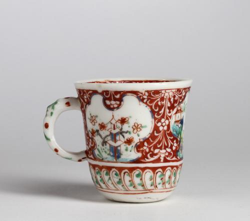 A London decorated Chinese blanc de chine Capuchin cup