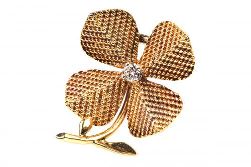 Sterle (Paris) Gold and Diamond Four Leaf Clover brooch, French circa 1950
