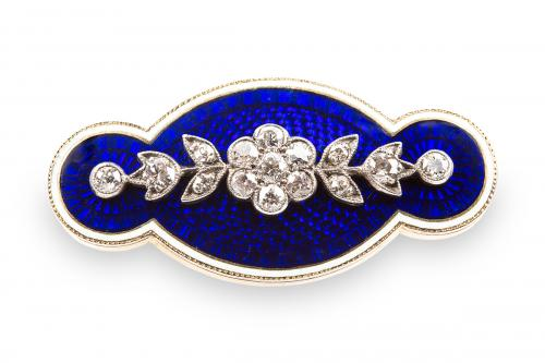 Antique Diamond set Gold mounted Brooch in Blue and White Enamel, English circa 1880