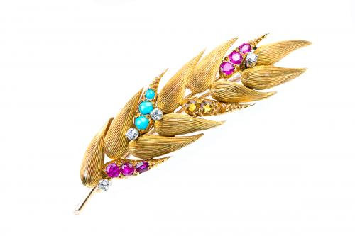 Brooch in 18 Carat Gold of a Ear of Wheat set with Stones, English circa 1970