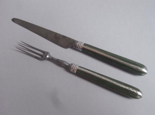 A rare George III cased Travelling Knife & Fork made most probably in London circa 1780