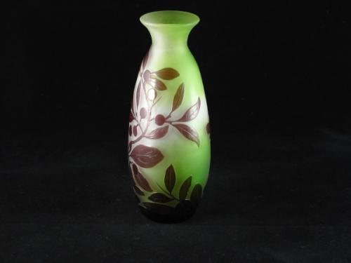 Emile Galle 3 colour Art Nouveau glass vase