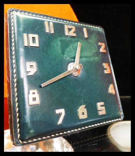 Art Deco Period Green leather Clock