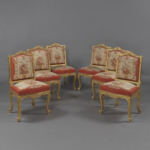 Set of Six Louis XV Style Giltwood Side-Chairs ©AdrianAlanLtd