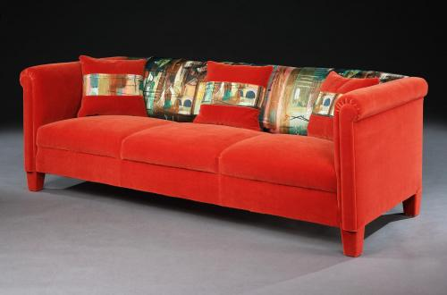 Settee, 1950's, French, three seater, upholstered in red velvet and John Piper 1962 Stones of Bath Satinised Linen