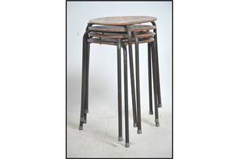 Dot stools, vintage, 1954, Arne Jacobsen for Fritz Hansen, set of four