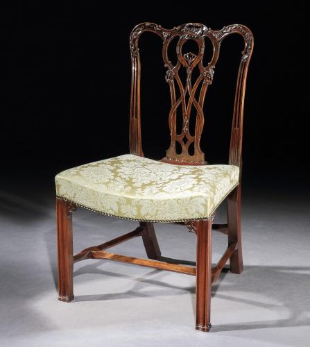Thomas Chippendale: A George III carved mahogany side chair