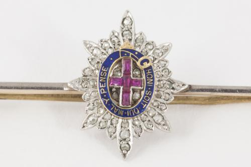 Coldstream Guards Brooch with Rubies Diamonds and Enamel, English circa 1920