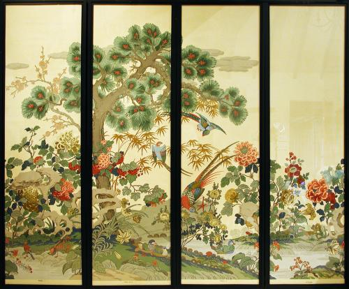A set of 4 Early 20th Century Sanderson Wallpaper Screens