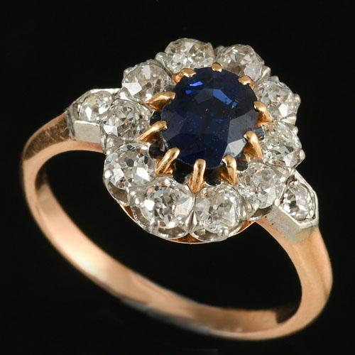 Fine Antique Sapphire and Diamond Cluster Ring