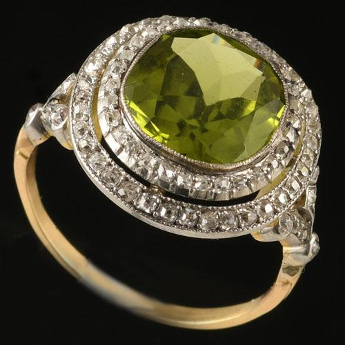 Edwardian Diamond and Large Peridot Ring