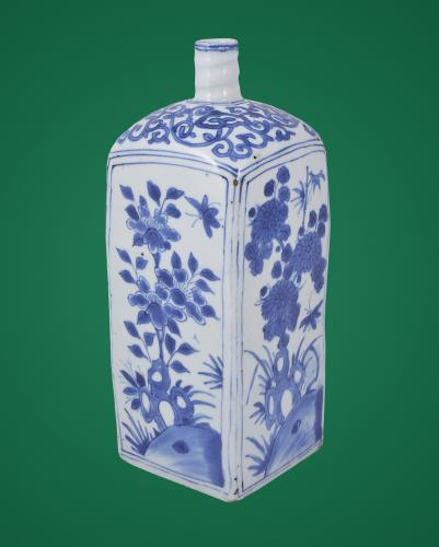 Wanli Blue & White Square Bottle