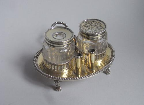 A very rare & unusual George III silver gilt Inkstand made in London in 1777 by Samuel Meriton