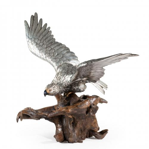 A very large and imposing Meiji period silvered bronze eagle