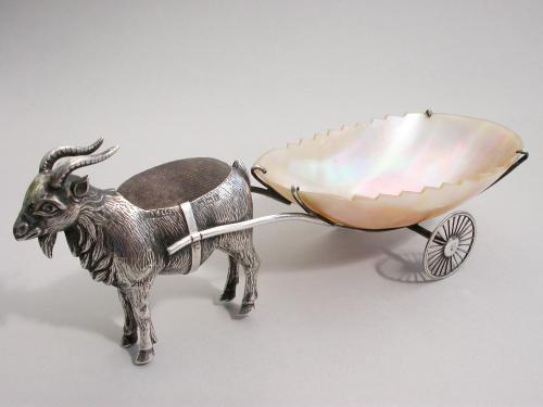 Edwardian Novelty Silver Goat Pulling a Cart Pin Cushion