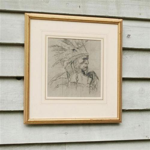 20th Century Charcoal and Sanguine Portrait of an Indian Chieftain