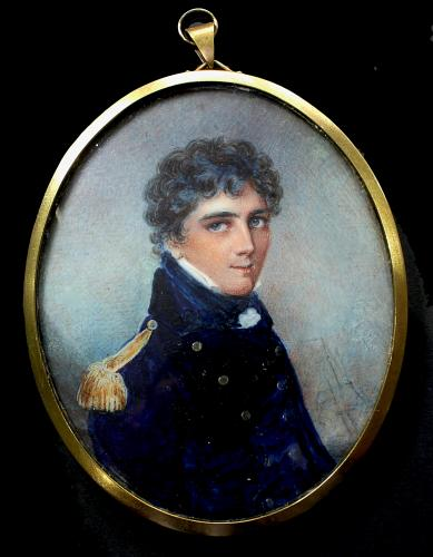 18th Century Portrait Miniature Of A Naval Officer Wearing Blue Uniform With 3 Masted Ship In Background, Anne Mee, circa 1795
