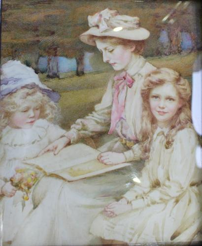 A Miniature Portrait Of Eleanor Palmer Self Portrait With Her Daughters, Watercolour On Ivorine