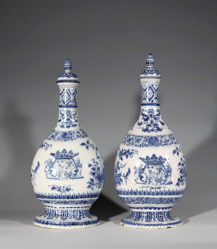 Two Delft Pilgrim Flasks and Covers With the Arms of Count Hastfers