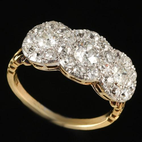 Edwardian fine  quality  triple cluster ring