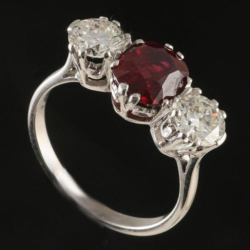 ruby and diamond platinum three stone ring