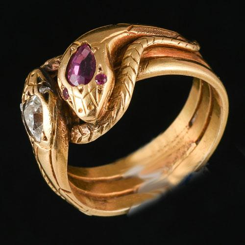 Victorian 18ct gold ruby and diamond double snake ring