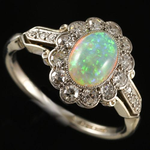 Art Deco Opal Diamond Platinum Ring