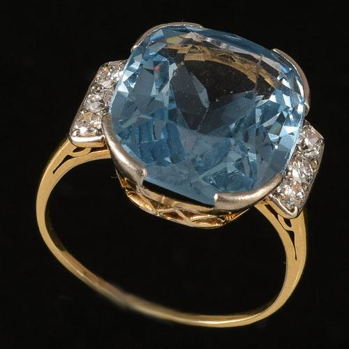 Platinum gold  aquamarine diamond ring