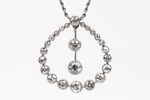 Antique Platinum and Diamond Pendant with Diamond Drop, English circa 1910