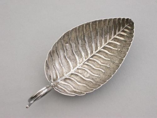 George III Silver Leaf Shaped Caddy Spoon