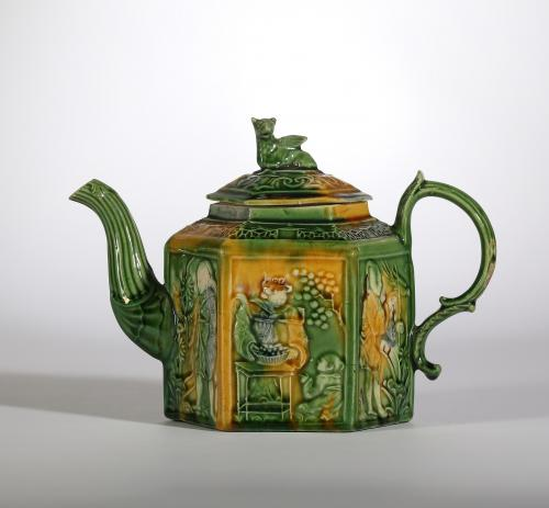 A Staffordshire Chinoiserie Teapot