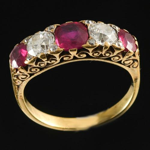 Victorian five stone Burmese ruby and diamond ring