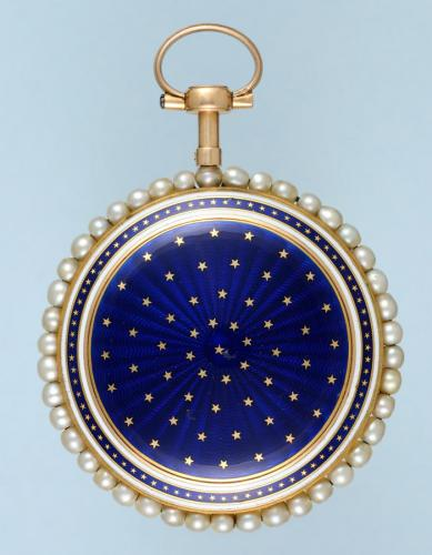 Gold and Enamel Watch Set with Pearls