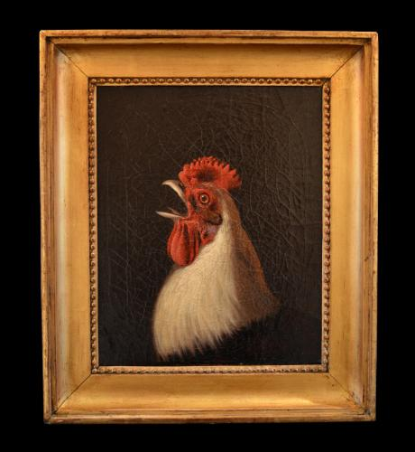 A Naive Oil Painting of an Ixworth Cockerel
