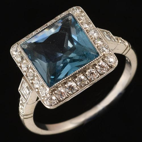 Square Aquamarine Diamond Ring