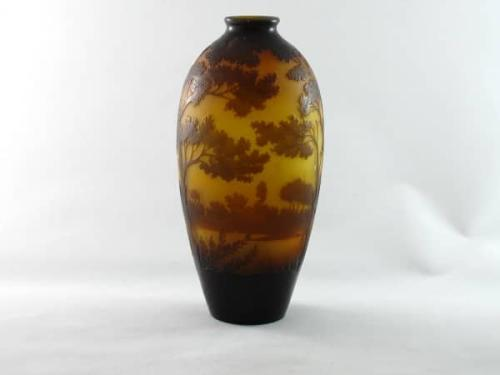 Art Deco cameo glass landscape vase by Paul Nicholas for D'Argental