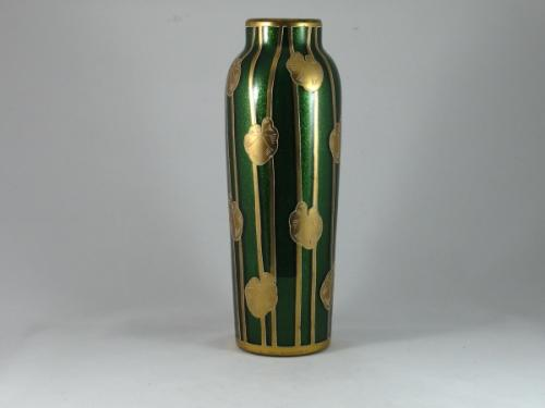 Art Nouveau aventurine glass vase by Harrach