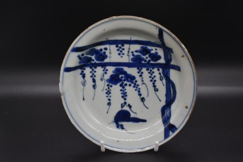 Tianqi Period Blue and White Grapes & Squirrel Dish