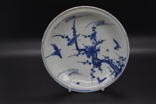 Tianqi period blue and white sparrow dish