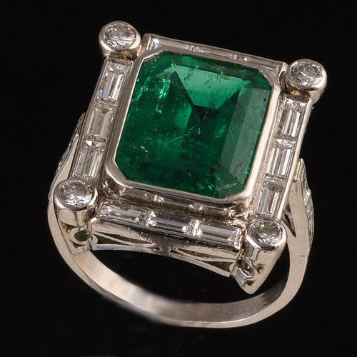 Platinum Set Art Deco Emerald and Diamond Ring