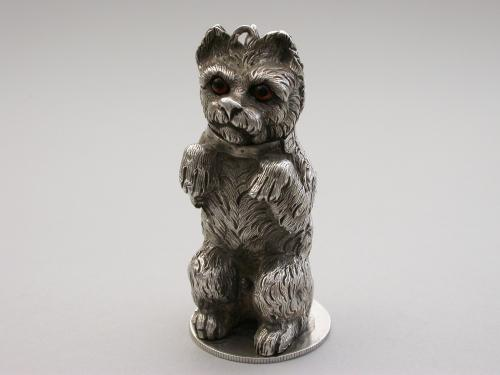 Victorian Cast Silver Novelty Terrier Dog Scent Atomiser