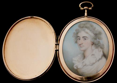 An 18th Century Portrait Miniature Of A Lady Wearing A White Dress, White Bandeau In Her Long Powdered Curling Hair, Philip Jean, circa 1790