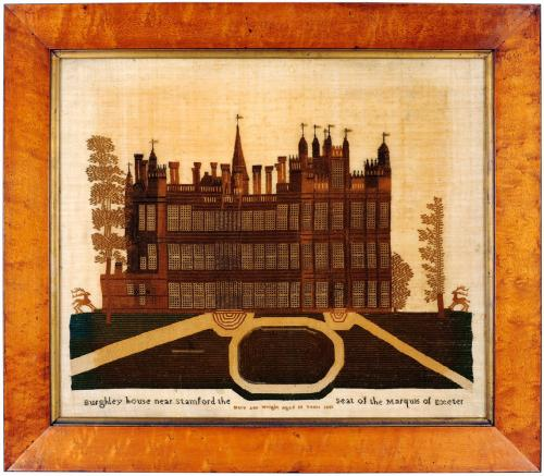 19th century sampler of Burghley House in Lincolnshire