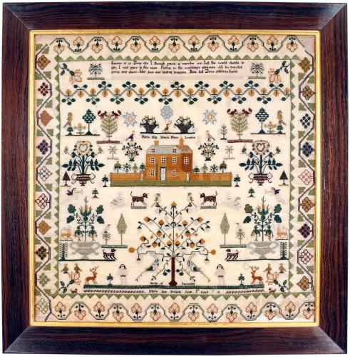 Immaculately worked sampler depicting Horse Hill House near London