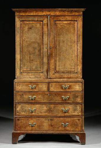 A George I Burr Walnut Cabinet on Chest
