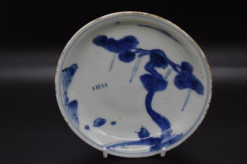 Tianqi period blue and white walking sage dish