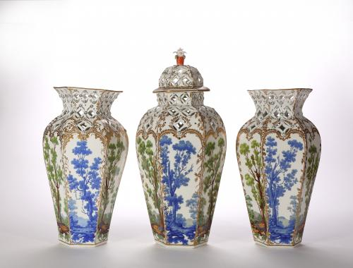 A Garniture of Three Bristol Hard-Paste Vases