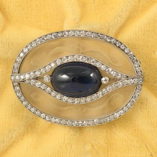 Art Deco Sugar Loaf Sapphire and Diamond Brooch