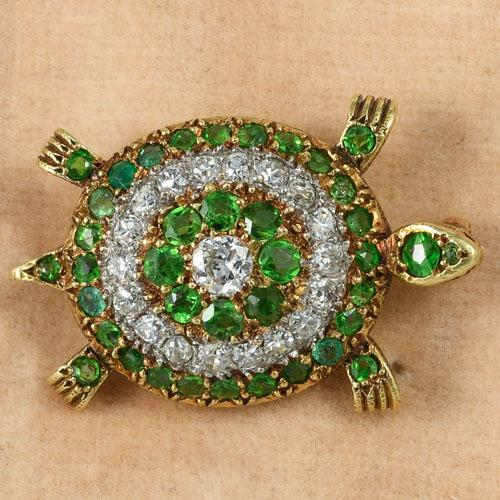 Edwardian green garnet diamond turtle brooch
